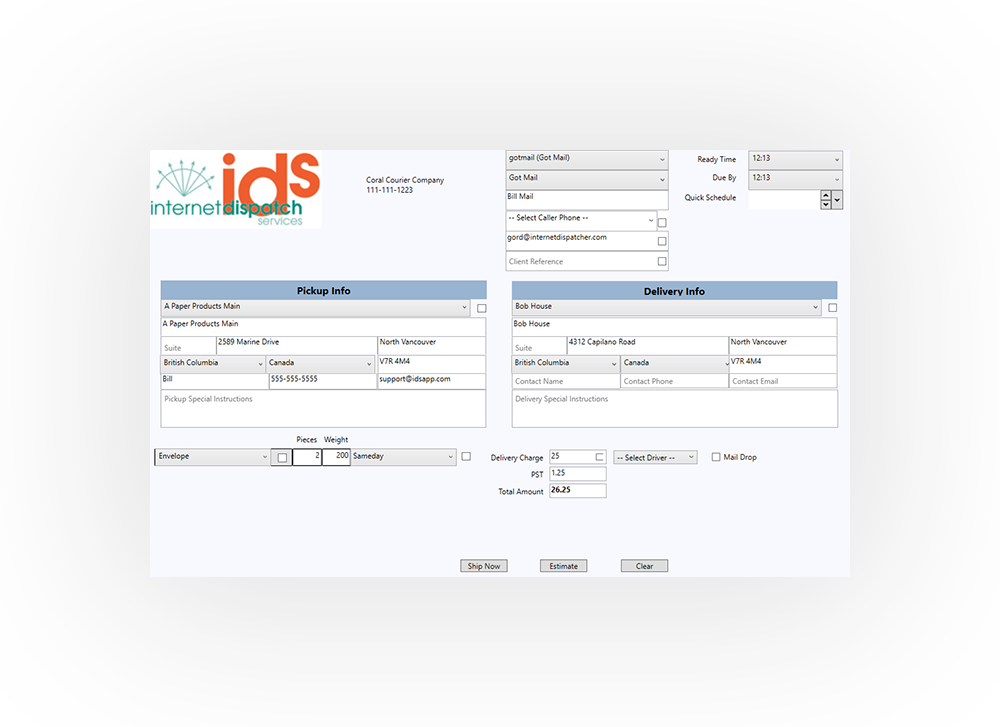shipment entry screen dispatch software